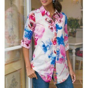 SOFT SURROUNDINGS Floral Embroidered Button Down
